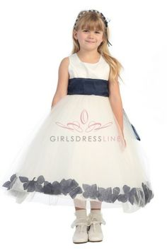 Ivory Satin & Tulle Flower Girl Dress with Navy Blue Petals & Sash