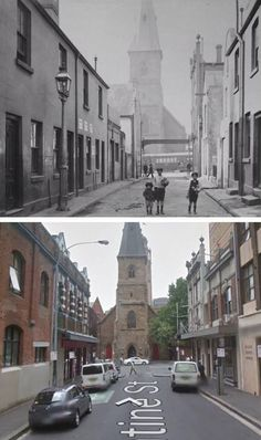 Valentine St, Haymarket, looking towards Christ Church St Laurence on George St… The Rocks Sydney, Train Tunnel, Amazing Pics, South Wales, Historical Photos, Old Photos, Wwii, Sailing, Cities