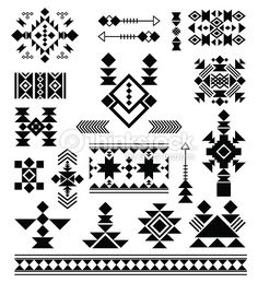 Vector patterns of American Indians Aztec tribal ethnic elements. Vector patterns of American Indians Native American Patterns, Native American Symbols, Native American Design, Native Design, Indian Patterns, American Indians, Aztec Patterns, Aztec Designs, Geometric Designs