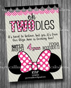 Oh Twodles Toodles Minnie Mouse Girls pink bowtique birthday invitation printable by SmallWorldPrintables
