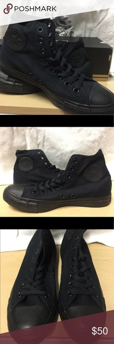 Converse Chuck Taylor Black Monochrom NEVER WORN!!!!!  I received one exactly like this for Christmas so I am selling this one. Will ship with box. I never used it yet but got some scuff from being tried on. Please look at all pictures before purchase!  Unisex: Women size 9 Men size 7 Converse Shoes Sneakers