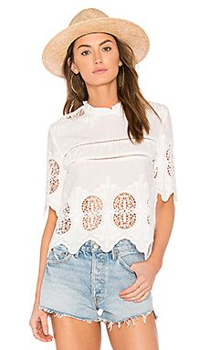 87184218a2 Shop for J.O.A. Scalloped Lace Mix Top in White at REVOLVE. Free 2-3