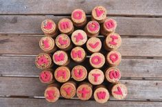 Buchstabenstempel / Letterstamps ... selfmade with champagne stoppers - cheers :) and letters you can buy