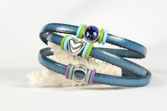 Turquoise Leather Wrap Bracelet Turquoise Evil Eye Blue Crystal Heart Charms Magnetic Clasp  CarolMade L65 by CarolMade on Etsy