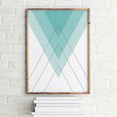 Geometric art print poster Blue Pyramids / Printable Digital Art / Scandinavian art / Nordic Art / Wall Decor / digital print illustration