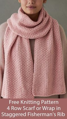 Free Knitting Pattern for 4 Row Repeat Staggered Fisherman& Rib Scarf or Wrap - 4 row repeat creates either a scarf (pictured) or shawl size. Designed by Purl Soho. Easy Scarf Knitting Patterns, Shawl Patterns, Knitting Stitches, Free Knitting, Baby Knitting, Knitting Patterns For Scarves, Knitting Tutorials, Knitting Machine, Vintage Knitting