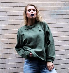 Distressed Sweatshirt Olive Ripped Sweater Holey