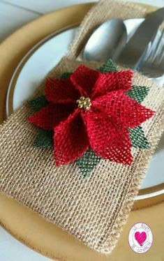 Items similar to Christmas Silverware Holder, Christmas Table Decoration, Burlap Cutlery Pocket, Rustic Utensil Holder on Etsy Burlap Crafts, Christmas Projects, Holiday Crafts, Diy And Crafts, Burlap Christmas, Christmas Holidays, Christmas Ornaments, Cheap Christmas, Christmas Trees