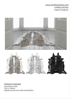 http://www.mineheartstore.com/accessories/persian-cowhide-rug.html    When Persian rug meets cow hide you end up with the beautiful hypo-allergenic rug, the dark patterning of the cowhide is replaced with a Persian rug graphic adding a touch of class to the rustic.