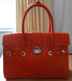 Love this Orange Ostrich Handbag