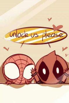 Unlock Us Please Spiderman and Deadpool Spideypool Deadpool X Spiderman, Marvel Avengers, Marvel Dc Comics, Spiderman Cute, Cute Deadpool, Deadpool Chibi, Baby Marvel, Wallpaper Fofos, K Wallpaper