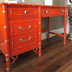 Vintage Desk Faux BambooThomasville Hollywood Regency Gold Leaf Chippendale Mid Century Modern Hermes Orange Chinoiserie Eclectic Home Decor. $540.00, via Etsy.