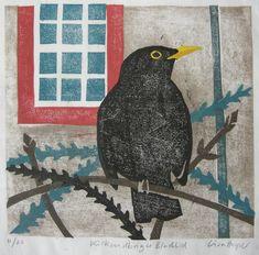 """Kirkcudbright Blackbird"" Lisa Hooper, Port William printmaker"