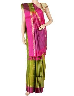 G3 exclusive green silk saree. Product Code: G3-WSA5869 Price: ₹ 9,760.00