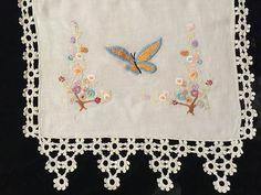 Vintage Embroidered Crewel Butterfly Flowers Runner Scarf Crocheted Ecru Linen