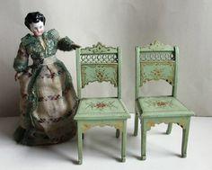 Paar wunderschöne Stühle, Jugendstil, fein von Hand verziert, sehr edel und rar!