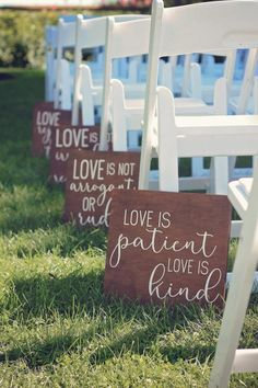 Love is Patient Aisle Signs for Outdoor wedding signs 20 Minimalist Outdoor Wedding Aisle Decor Ideas Wedding Aisle Outdoor, Wedding Ceremony Signs, Wedding Aisle Decorations, Wedding Signage, Wedding Venues, Outdoor Weddings, Signs For Weddings, Wedding Aisles, Diy Wedding Signs