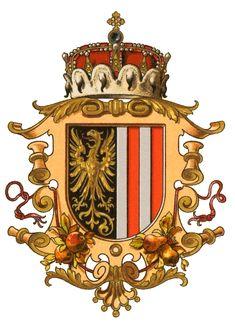 Wappen der Kronländer - Austria-Forum : Wissenssammlung Symbole Erzherzogtum… Holy Roman Empire, National Symbols, Emblem, Family Crest, Crests, Textile Prints, Coat Of Arms, Flag, History