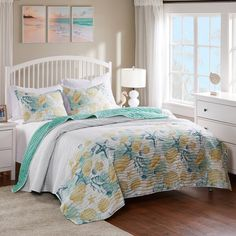 Ocean Bedding, Coastal Bedding, Bedding Sets, Coastal Decor, Twin Quilt, Queen Quilt, Resort Style, Florida Home, Quilt Sets