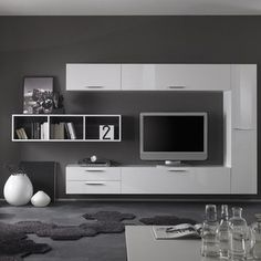 Modern Wall Unit TV Media Entertainment Center Club Composition 2 - $2,146.00 - Entertainment Unit Club Composition 2 by LC Mobili. Design your own wall unit is easy as 1-2-3 with this new modular system manufactured by LC Mobili, Italy. The line Club offers a wide range of components that allows you to meet any requirement in the furnishing of your living room. All units are available in White High Gloss Lacquer finish except the Wall Mounted Desks (Comes in Gray only) and bookcases ...