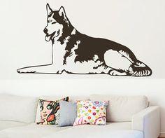 Tired Husky Dog Vinyl Decals Wall Sticker Art by VinylDecals2U, $25.99