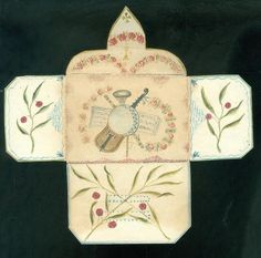 School Girl Art - Handmade Watercolor Envelope w Musical Instruments c1850s #Americana