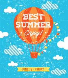 Best summer party invitation with a hot-air balloon Vector | Free ...