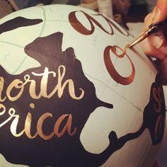 Painted Globe DIY. Looks pretty simple