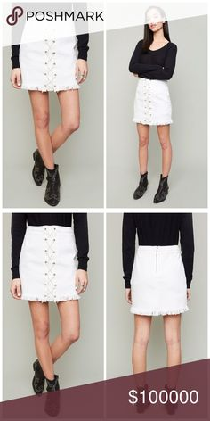 White frayed lace up denim skirt! Too cute white lace up frayed denim skirt with a hint of stretch for a beautiful fit- back zip closure Skirts