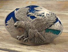 Vintage Eagle Belt Buckle Siskiyou 1993 Blue Silver Country Western Bird Trees #Siskiyou