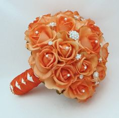 Real Touch Orange Roses Wedding Flower Package Bouquets Boutonnieres
