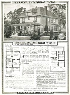 $2861.00 Sears Auburn House ~ Includes plans and materials ~ 4 Bedrooms, 1 bath, Reception Hall, Dining Porch, Sleeping Porch and really cool stairs... <3 I wish! :)