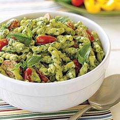 An easy homemade pesto elevates a casual pasta salad recipe to a must-try dish. Pasta salads are ideal for summer days when it's too hot to eat fresh-from-the-oven dishes.