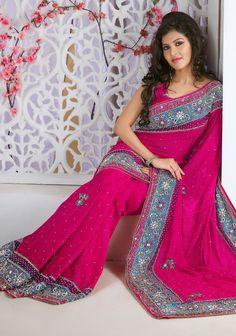 Hot Pink Jacquard #Indian #Wedding #Saree Blouse | @ $184.71