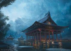 The Majestic Temple, Chris Ostrowski on ArtStation at https://www.artstation.com/artwork/nEob1