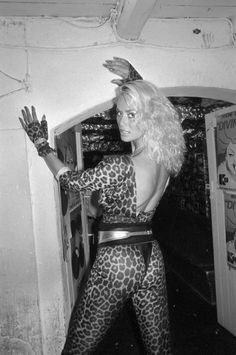 A clubgoer shows off the wild style of the 1980s