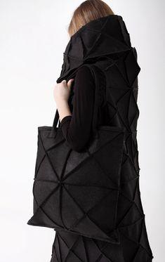 Geometric felt bag/ avant garde black bag/ by thecelestialbody