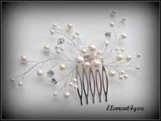 Bridal comb Ivory pearls hair piece Wedding hair by Element4you, $38.00