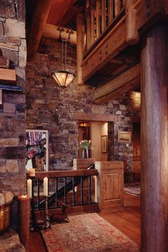 Interior Entry with stone and wood