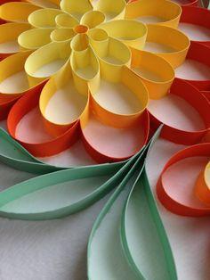 3d paper quilled art Orange Spring Flowers