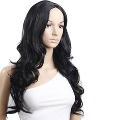 Black wig with middle parting