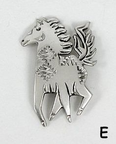 Authentic Native American Sterling Silver Horse Pin by Navajo Allison Manuelito