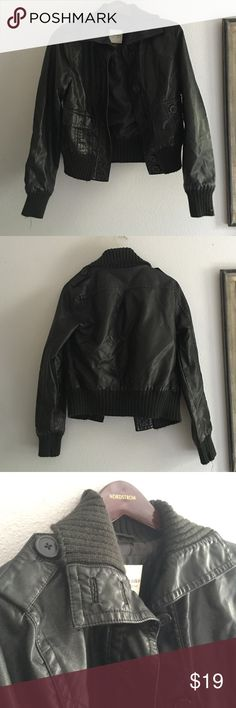 Brown/Black Leather Jacket It's so brown it's almost black leather jacket. Super cute jacket, no stains, rips, or holes- says small but could fit a medium really well Sonoma Jackets & Coats