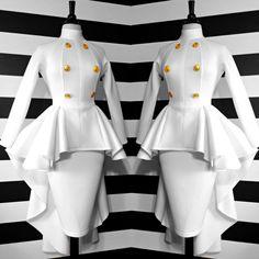 SUPER LOVE the peplum drape! - Nicci Hou Collection High Low button peplum top and skirt Girl Fashion, Fashion Looks, Fashion Outfits, Womens Fashion, Fashion Design, African Wear, African Dress, Classy Dress, Classy Outfits