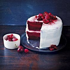 Magic red velvet cake. Moist cake base, cream middle, and a Genoise sponge top. An indulgent recipe to try this Christmas. Visit www.redonline.co.uk for full recipe.