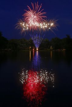 Avondale Estates, Georgia, shows its pride in the red, white and blue tonight on the Fourth of July. The nationwide festivities mark the 238th year the United States broke away from Great Britain.