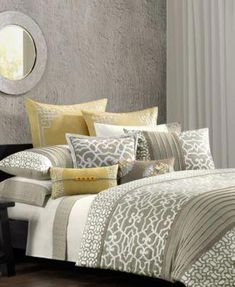 N Natori Bedding, Fretwork Comforter Sets - Bedding Collections - Bed & Bath - Macy's--spare bedroom Dream Bedroom, Home Bedroom, Master Bedroom, Bedroom Decor, Bedroom Ideas, Bedroom Colors, Yellow And Gray Bedding, Grey Bedding, Grey Yellow