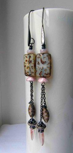 In a mist - handmade earrings, beaded earrings, art bead earrings, long earrings, chain earrings, pale earrings