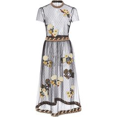 Red Valentino Floral Embroidered Dress (11,700 ILS) ❤ liked on Polyvore featuring dresses, valentino, red valentino dress, short sleeve midi dress, midi dress, red valentino and mid calf dresses