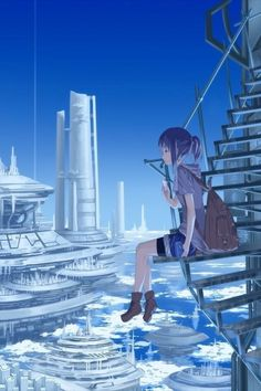 Imagine, a girl sitting dangerously close to the edge of an overlook, an overlook to a massive, advanced floating city.